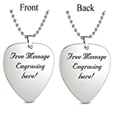 Personalized Guitar Pick Necklace Pendant -Engraved Message Text Stainless Steel (Silver)