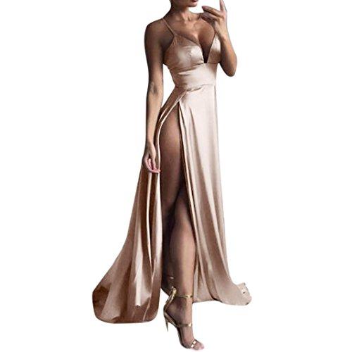(Boomboom Women V Neck Side Split Sleeve Evening Gown Long Dresses Khaki XL)