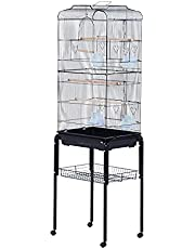 """PawHut 60"""" Rolling Bird Cage Cockatoo House Play Top Finch Pet Supply with Wheels Black"""