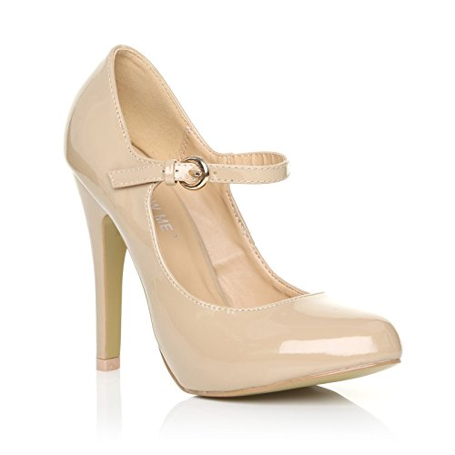 CORE COLLECTION New Womens Ladies HIGH Heel Mary Jane Ankle Strap Court Shoes Size 3-8 NUDE PATENT