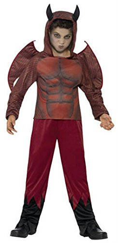 Smiffy's Children's Deluxe Devil Costume,top, Trousers & Wings, Ages 7-9,