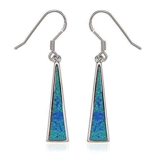 Sterling Silver Created Blue Opal Triangle Dangle Earrings by Beaux Bijoux