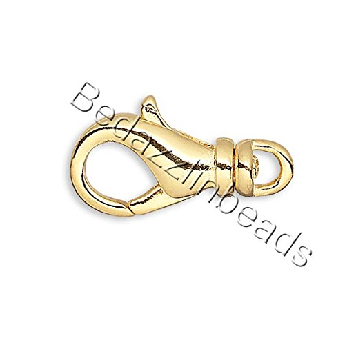 (10 Plated 14mm Long Lobster Claw Trigger Clasps With Swivel for Jewelry (Gold))