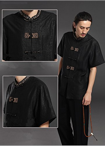 High-end Business Shirts Men's shirt Tang Costume Tang Suit Retra Shirt Chinese National Style Mulberry Silk by LUOLAN-Tang Sui (Image #5)