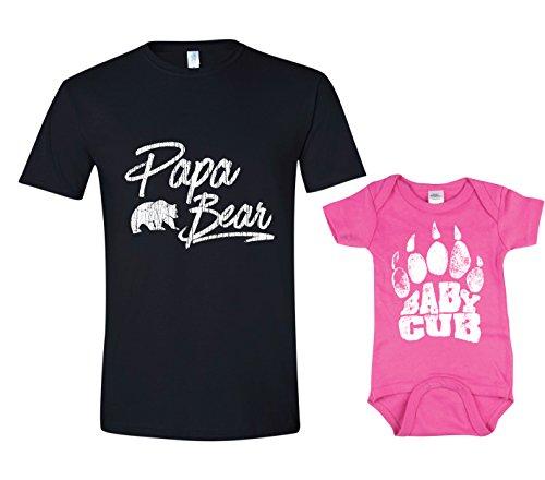 Texas Tees Baby Bear Tshirt, Baby Cub Shirt and Papa Bear Shirt Set,Papa Bear Baby Cub Set - Black & Pink,Mens (X-Large) & 6-12 -