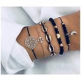 Natural Link Chain Bracelet Set Heart Handmade Boho Resin Adjustable Rope Bracelet for Unisex,Pendant Bracelet Five-Piece