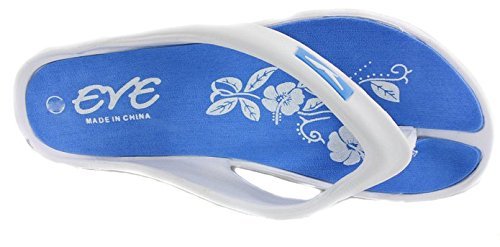 EVE Womens Comfortable Flip Flops Wedge Sandals (7, Blue)