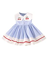 OCEAN-STORE Princess Dresses Toddler Kids Baby Girls Clothes Sleeveless Cherry Stripe Party