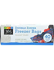 365 Everyday Value, Double Zipper Freezer Bags, Quart Size, 40 ct