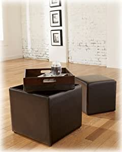 Signature Design by Ashley 7740211 Storage Ottoman with Flip Tray Top and Additional Cube Ottoman, Chocolate