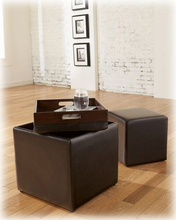 Beautiful Ashley Furniture Signature Design   Storage Ottoman With Flip Tray Top And  Additional Cube Ottoman