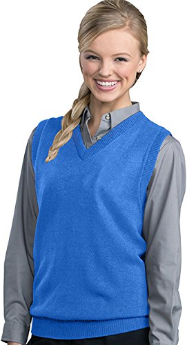 Sweater Performance V-neck Vest (Edwards Garment Women's Performance V Neck Durable Stitch Acrylic Vest, X-Large - Blue)