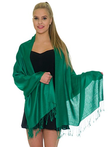 Pashmina Shawls and Wraps - Large Scarfs for Women - Party Bridal Long Fashion Shawl Wrap with Fringe by Petal Rose Green