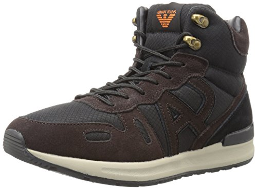 ARMANI JEANS Men's Lace Up Logo Hiking Sneaker Shoe, Nero/Marrone, 43 M EU (10.5 US) (Shoes Jeans Men Armani)