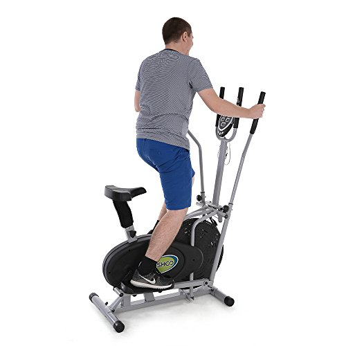 TOMSHOO Elliptical Bike 2 In 1 Cross Trainer Fan Bike With