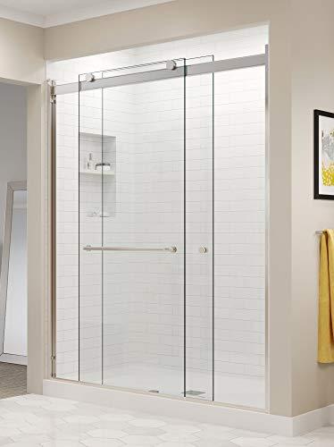 Basco Rotolo 56-60 W x 76 H inch Semi-Frameless Sliding Shower Door, AquaGlideXP Clear Glass, Brushed Nickel Finish (RTLA05A6076XPBN) ()