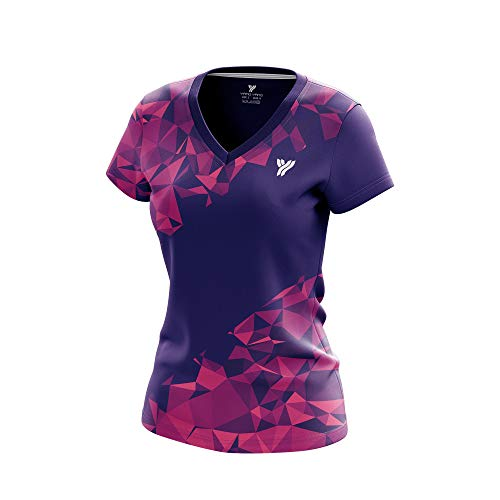 Yang Yang Women's 100% Polyester Feminine Silhouette V Neck Moisture Wicking Short Sleeve Performance Athletic Shirt (Medium, Purple)