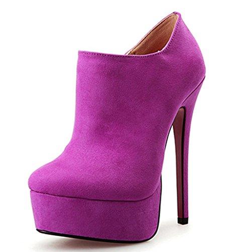 Zipper High Toe CAMSSOO Ankle Purple Faux Boots Stiletto Suede Round Platform Heel Women's qwXxSzA