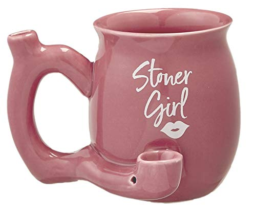 Roast And Toast Stoner Girl Mug With White Imprint 11 Ounces (Pink)