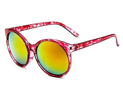Chezi Women's Plastic Full Frame Iridium Mirrored Circle Lens Round Sunglasses (red floral+orange lens, - Sunglasses Round Floral