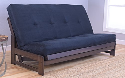 Kodiak Furniture Aspen Full Size Futon Set in Reclaim Mocha Finish, Suede Black ()