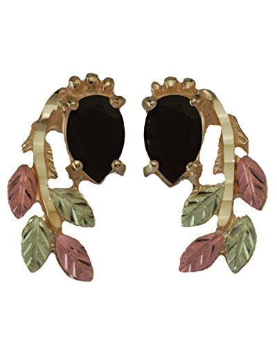 Onyx Pear Inlaid Leaf Earrings, 10k Yellow Gold, 12k Rose and Green Gold Black Hills Gold Motif
