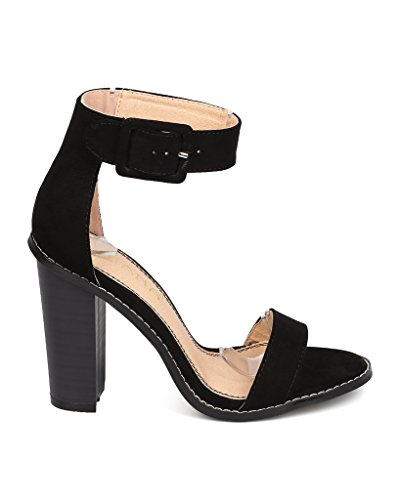 amp; Buckle with Welting Bitsy6 Ankle Heel Stacked Basic Liliana Outsole Pump Heel Black Straps AXwqxUCX