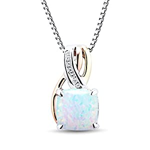 Created Opal and Diamond Necklace Rhodium Plated Sterling Silver with 10k Rose and Yellow Gold Accents