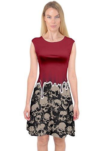 PattyCandy Womens Red Blood Drip Skulls Horror Capsleeve Midi Dress -