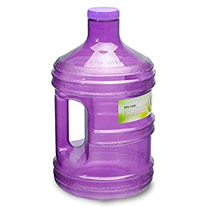 1 Gallon BPA FREE Reusable Plastic Drinking Water Big Mouth Bottle Jug Container with Holder - Purple