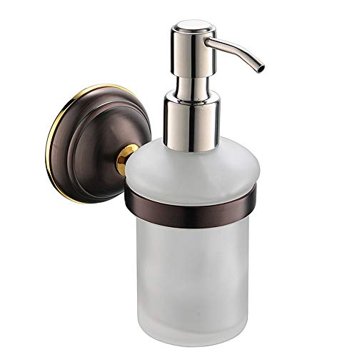 CRW Wall Soap Dispenser Bathroom Oil Rubbed Bronze Liquid Lotion Hand Soap Holder with Removable Glass Bottle Stainless Steel Chrome Pump for Countertop Kitchen Sink Vanity, 8 Oz, Solid -