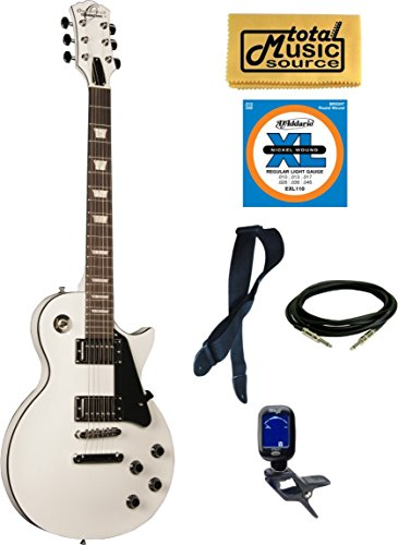 Oscar Schmidt OE20WH LP Style Electric Guitar Bundle - Alpine White by total Music Source
