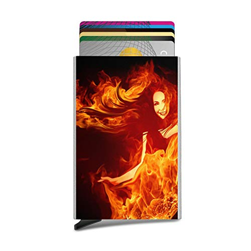 (Flames red Orange Fire Wallpaper Luxury Unisex Automatic Pop-Up Business Card Box ID Card,Credit Card/Protective)