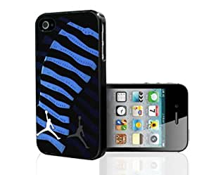 "Black and Blue Designer Shoe ""10's Retro Powder Blue"" Foot Print Hard Snap on Phone Case (iPhone 4/4s)"