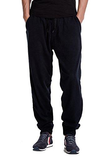 CYZ men's 100% polyester micro fleece lounge jogger-Black-S