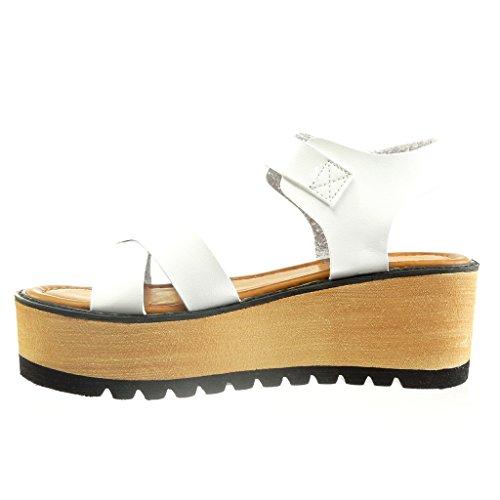 Angkorly Damen Schuhe Sandalen - Plateauschuhe - Offen - String Tanga - Multi-Zaum Keilabsatz High Heel 6 cm Weiß