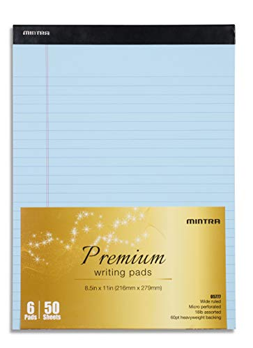 Mintra Office Legal Pads (Basic 6pk (Pastel), 8.5in x 11in (Wide Ruled))