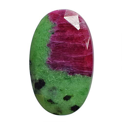 ABC Jewelry Mart Rare Red Green Ruby Zoisite Cabochon, Faceted Cut, Oval Shape, Size 29x18x4.5 MM, Pendant Stone AG-10937