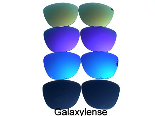Galaxy Replacement Lenses for Oakley Frogskins Black&Blue&Purple&Gold Color Polarized 4 Pairs,FREE - Black And Oakleys Purple