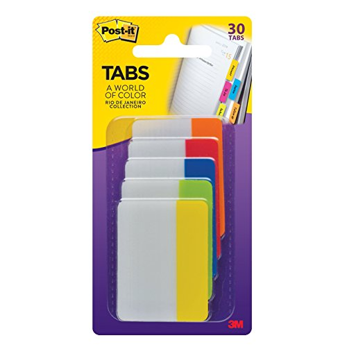 (Post-it Tabs, 2 in, Rio de Janeiro Collection, Sticks Securely, Removes Cleanly, Great for Binders, Notebooks and File Folders, 6 Tabs/Color, 5 Colors, 30 Tabs/Pack,)