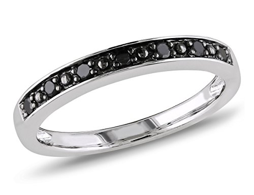 Black Diamond Wedding Band 1/10 Carat (ctw) in Sterling Silver with Black Rhodium ()