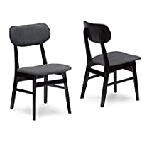 Baxton Studio Set of 2 Debbie Mid-Century Dark Brown Wood and Grey Faux Leather Dining Chairs