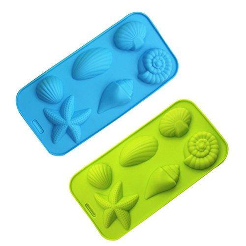 (Ice Cube Trays Silicone Mold for Ice, Jelly, Chocolate and Soap - 6 Starfish Conch Shell Shape Ice Mold, Set of 2)