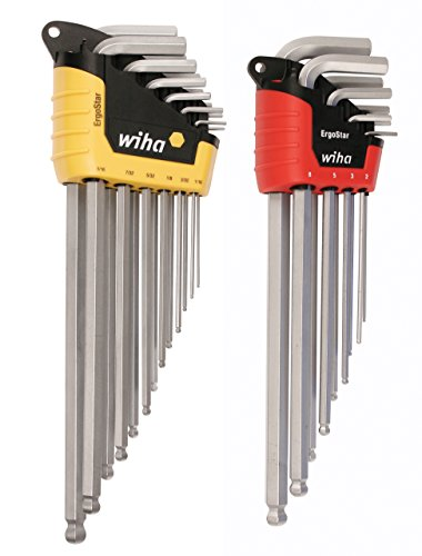 WIHA 66982    ErgoStar Ball End Hex L-Key, Inch and Metric, 22-Piece ()