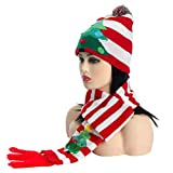 LED Light up Christmas Knit Winter Striped Scarves Beanie Hat Set Coloured Lighting Special Occasion Events Festive Scarves (Tree)
