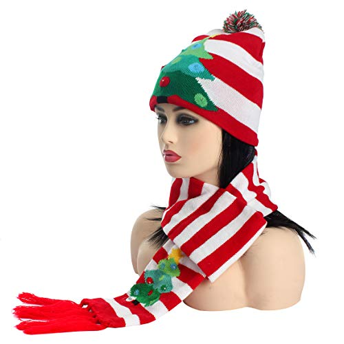 LED Light up Christmas Knit Winter Striped Scarves Beanie Hat Set Coloured Lighting Special Occasion Events Festive Scarves (Tree) ()