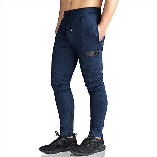 EK Mens Gym Jogger Pants Training Workout Slim fit Sweatpants Causal Leg Zipper (Navy, Medium) (Best Slim Fit Sweatpants)