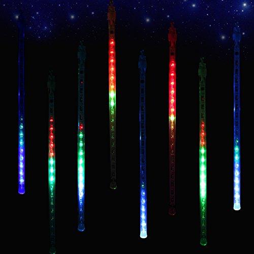 ZEKER Meteor Shower Rain Lights Christmas LED Decoration Falling Drop String Light icicle 8 Tube 30cm (Multi)