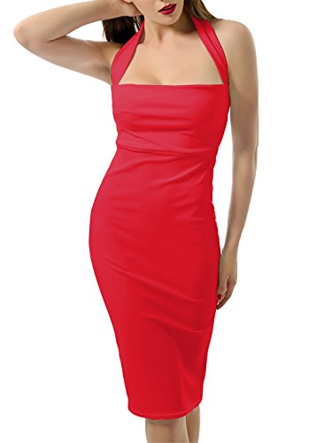 Red Square Neck Dress (Doramode Women's Halter Solid Sleeveless Knee Fitted Dress, Red, Large)