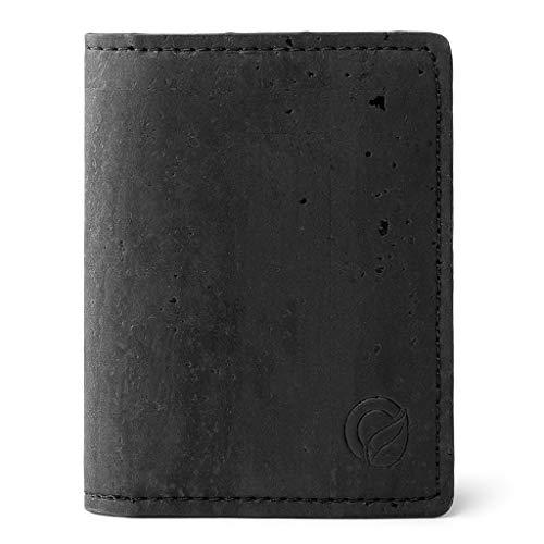 Corkor Slim Wallet for Men RFID | Vegan Non Leather | Bifold for Cards Cash Black Color
